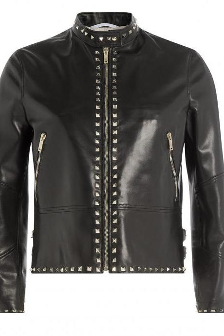 Handmade Women's Fashion Punk Silver Studded Real Leather Jacket