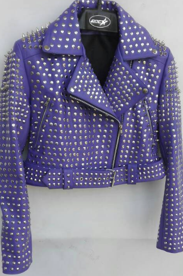 Handcrafted Women's Silver Studs Brando Style Belted Purple Genuine Cowhide Leather Jacket