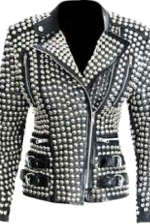 New Womens Item Real Silver Studded Belted Waist Genuine Leather Jacket