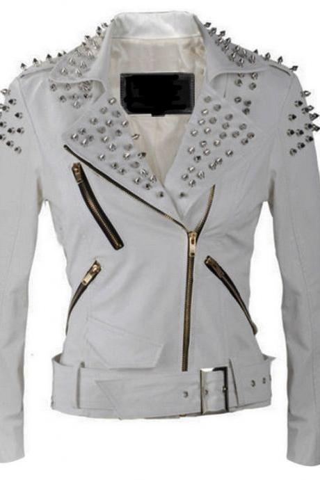 Handcrafted Women's Silver Punk White Studded Biker Leather Jacket
