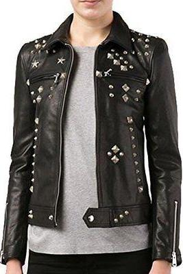 Handcrafted Women's Black Color Silver Studded Biker Premium Leather Jacket