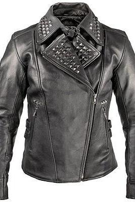 Customized Handmade X-element Women's Punk Studded Black Leather Jacket