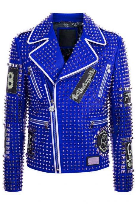 Men's Philipp Plein Silver Studded Emroidery Patches Blue Color Leather Jacket