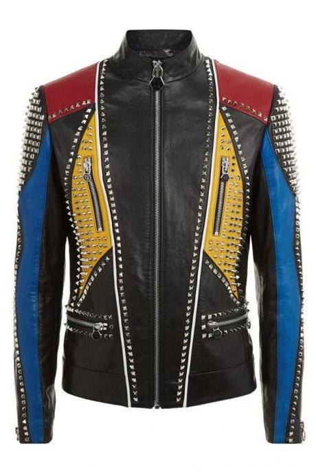 Men's New Multicolor Philipp Plein Full Studded Vintage Leather Jacket