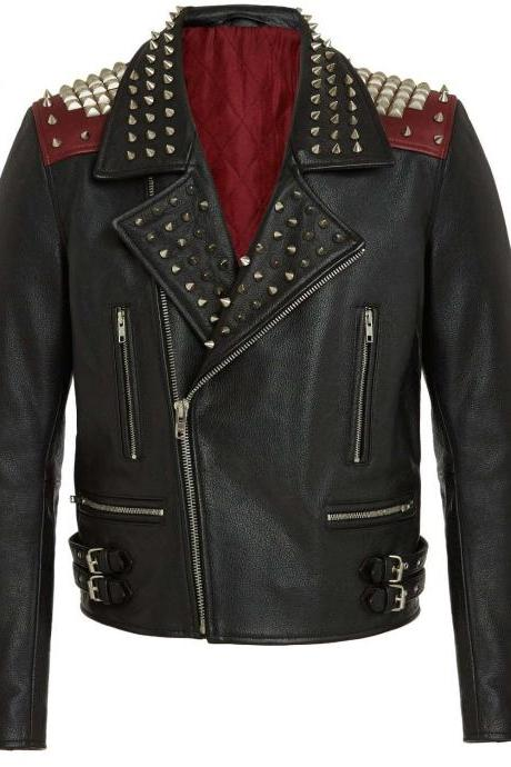 Customized Handcrafted Men's Silver Studded Black Color Genuine Leather Jacket
