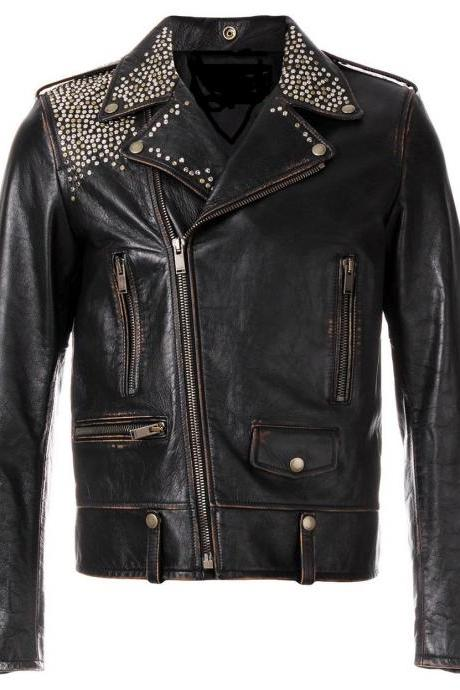 Handcrafted Item For Men's Multi Studded Black Vintage Leather Jacket