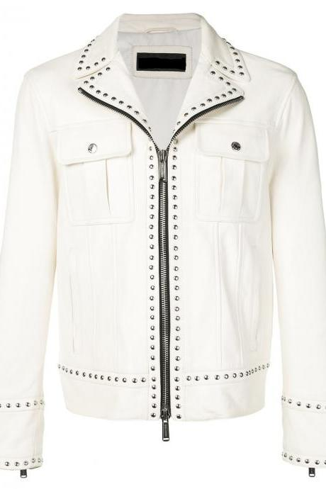 Made To Order Men's White Versace H&M Silver Studded Leather Jacket