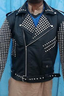 Handmade New Item For Men's Silver Studded Genuine Leather Jacket