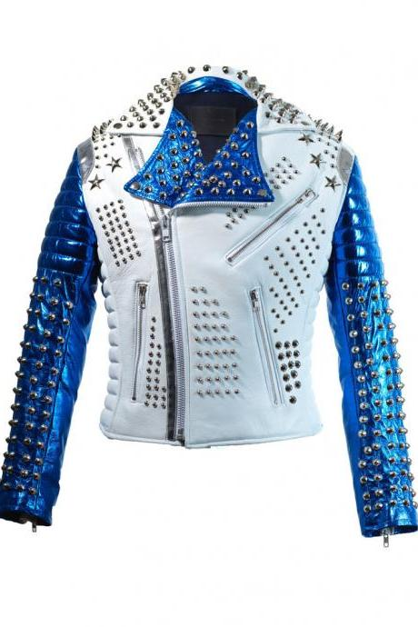 Men Dead Star Tech Silver Studded White Blue Contrast Leather Jacket