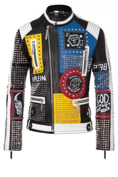 Handmade Men's Philipp Plein Multi Color Full Studded Embroidery Patches Vintage Leather Jacket