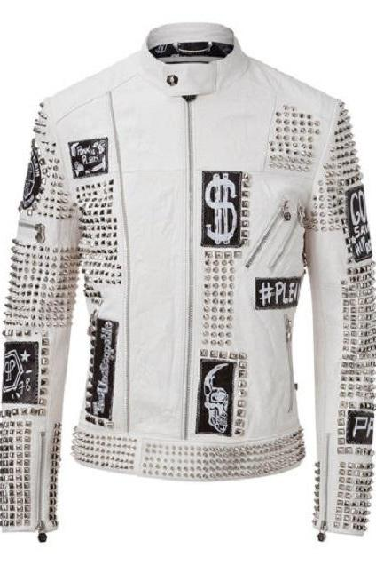 Men's New Philipp Plein White Full Studded Embroidery Patches Leather Jacket