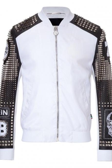Men Studded Embroidery Patches White Color Premium Leather Jacket