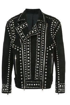Customized Handmade Men's Studded Stylish Black Vintage Suede Leather Jacket