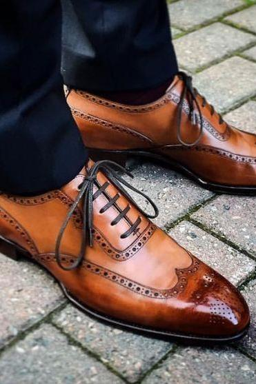 Handcrafted Men's Brown Two Tone Color Wingtip Italian Lace up Premium Leather Shoes