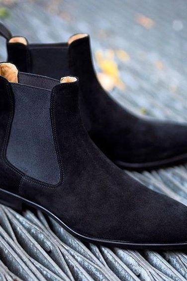 Handmade Men's Black Chelsea Genuine Suede Leather Boots