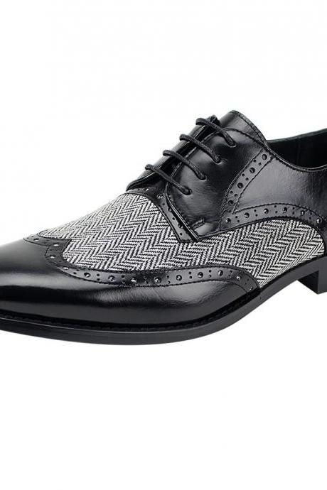 Men's New Wingtip Oxford Black Leather Tweed Laceup Dress Shoes