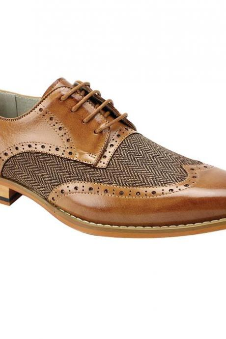 Men's New Wingtip Oxford Brown Leather Tweed Lace up Dress Shoes