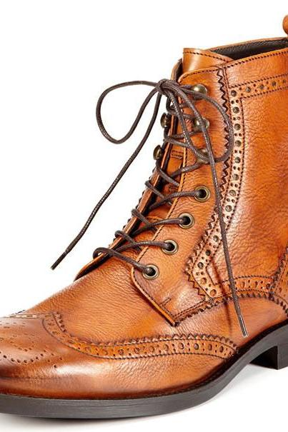 Handmade Men's Classic High Ankle Brogue Brown Wingtip Genuine Leather Lace up Boot