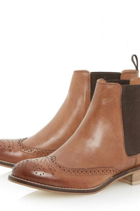 Men's Wingtip Brown Brogue Toe Chelsea Jumper Slip Genuine Leather Boots
