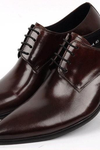 Men's Chocolate Brown Genuine Leather Pointed Toe Derby Lace up Shoes