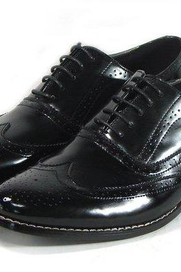 Customized Handmade Men's Oxford Black Patent Brogue Toe Wingtip Lace up Leather Shoes