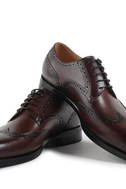 Men's Coffee Brown Wingtip Derby Full Brogue Toe Genuine Leather Dress Shoes