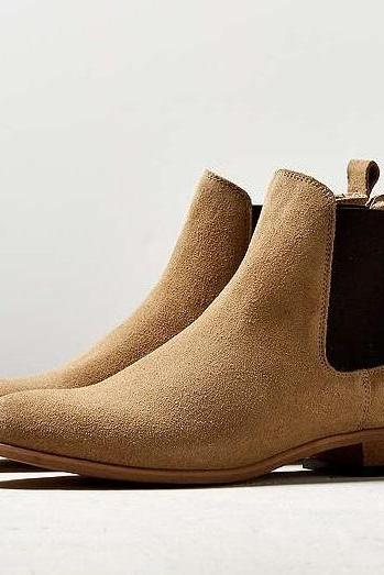 Made To Order Men's Chelsea Beige Color Bear Tan Genuine Leather Boots