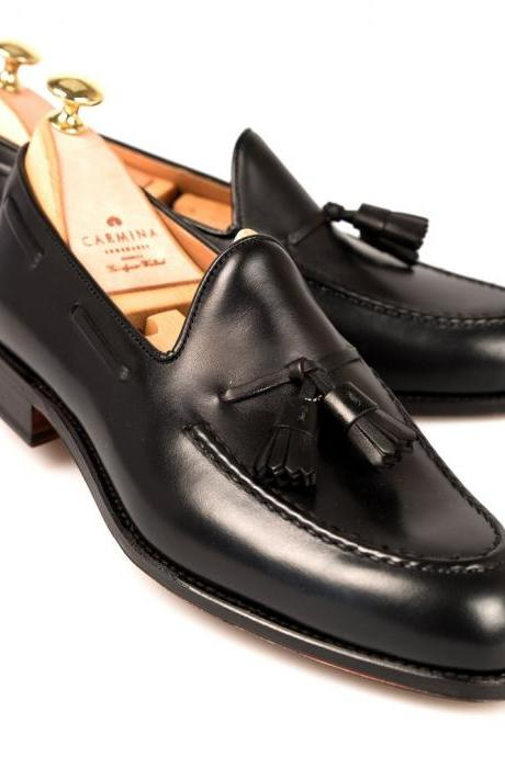Handmade Men's Black Tassel Loafer Finished Cow Leather Shoes