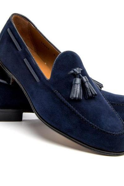 Handmade Men's Blue Tassel Loafer Genuine Suede Leather Shoes