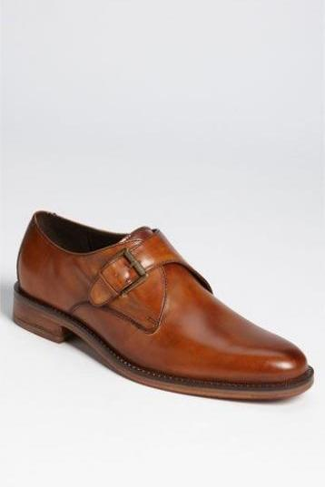 Handcrafted Men's Brown Single Buckle Monk Formal Dress Leather Shoes