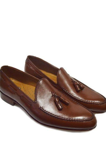 Men's Brown Tassel Loafer Casual Dress Plain Toe Genuine Leather Shoes