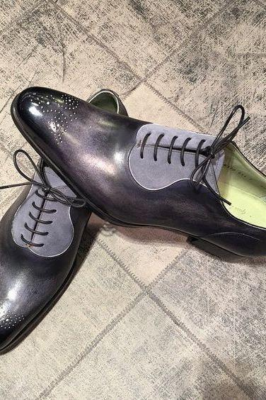 Made To Order Men's Oxford Medaillen Brogue Toe Gray Suede Black Genuine Leather Lace up Shoes