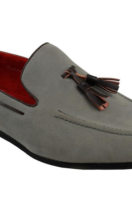 Handmade Men's Gray Tassel Loafer Black Sole Real Suede Leather Shoes