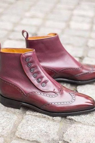 Men's Maroon Red Plain Toe Half Brogue Slip On Leather Button Boots