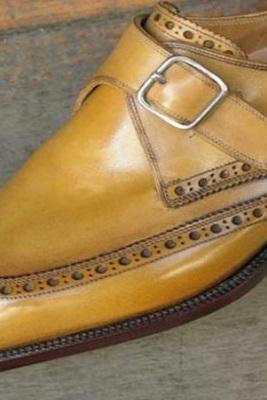 Made To Order Men's Monk Wingtip Brogue Tan Brown Genuine Leather Shoes