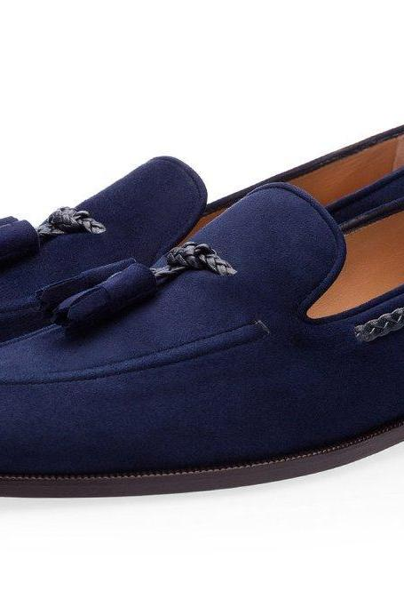 Handmade Men's Navy Blue Tassel Loafer Magnificent Suede Leather Shoes