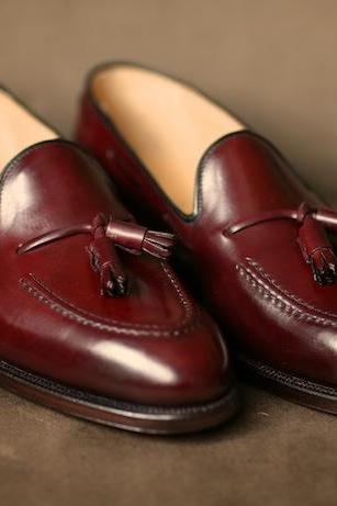 Made To Order Men's Maroon Red Tassel Loafer Genuine Leather Shoes