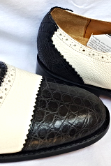 Handmade Men Oxford Black and White Crocodile Genuine Leather Formal Dress Party Shoes Size