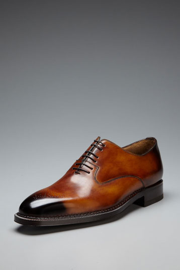 Customized Handmade Men's Brown Brogue Toe Burnished Patina Genuine Leather Shoes