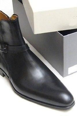 Handmade Men's Black Color High Ankle Buckle Strap Around Jodhpur Leather Boots