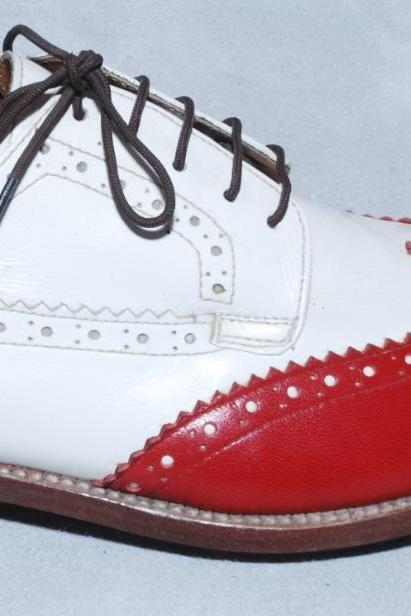 Men's Oxford Brogue Toe Red White Contrast Natural Color Sole Genuine Leather Laceup Shoes