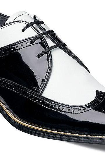 Made To Order Men's Oxford Derby Brogue Toe Black White Genuine Leather Lace up Shoes