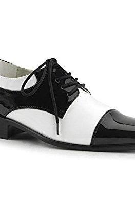 Handcrafted Men's Oxford Black White Plain Toe Patent Genuine Leather Lace up Shoes