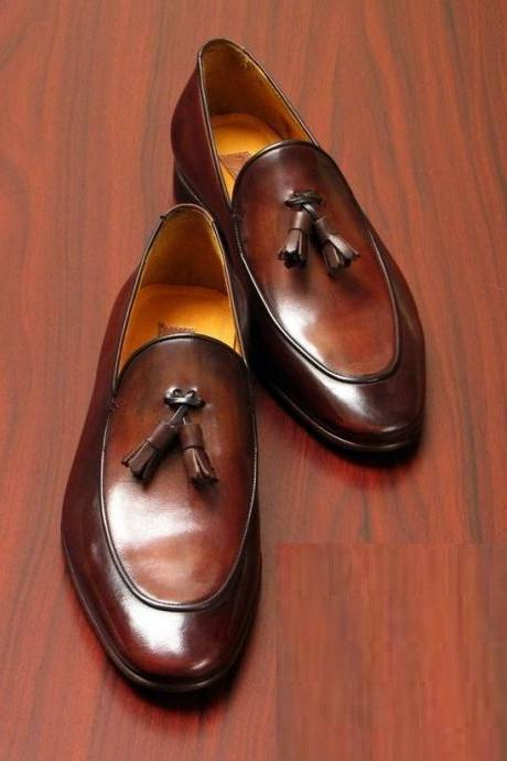 Made To Order Men's Brown Color Tassel Loafer Magnificent Leather Shoes
