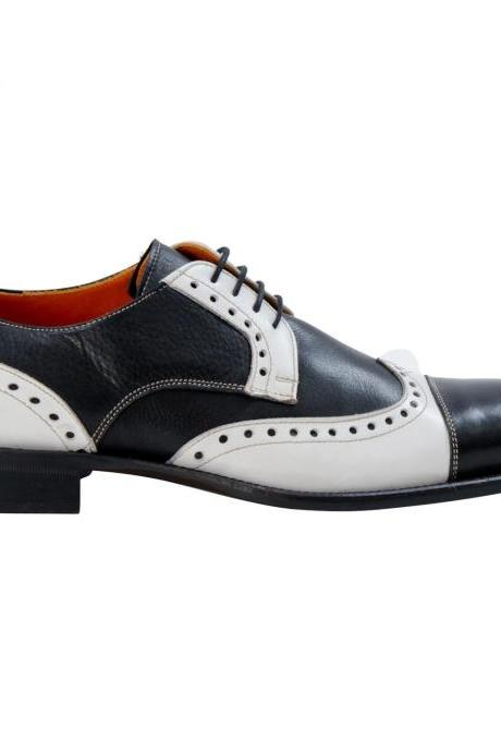 Handcrafted Men's Oxford Black White Full Brogue Double Toe Leather Lace up Shoes