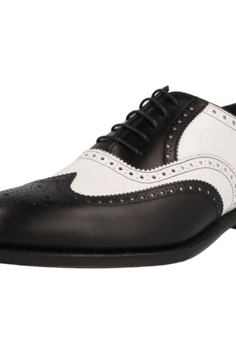 Handcrafted Men's Oxford Black White Brogue Toe Wingtip Genuine Leather Lace up Shoes
