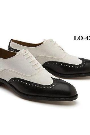 Customized Handcrafted Men's Two Tone Black White Oxford Plain Toe Leather Lace up Shoes