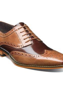 Handcrafted Men's Two Tone Tan Brown Derby Brogue Toe Natural Color Sole Vintage Leather Lace up Shoes