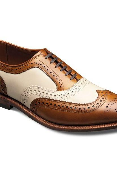 Made To Order Men's Tan Brown White Derby Brogue Toe Wingtip Leather Lace up Shoes