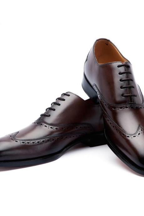 Customized Handcrafted Men's Oxford Brown Color Burnished Toe Slip On Leather Lace up Shoes